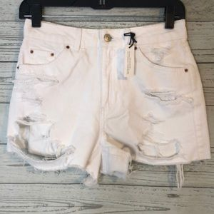 Topshop Moto Mom High Waist White Distressed 4